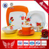 Color Glaze hard porcelain red floral square shape orange plates with decal family restaurant dinnerware set (S04Z01)