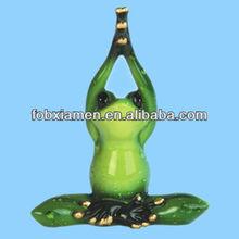 Green Frog 2 Piece Set Resin Statue Figurine