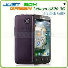 Wholesale Brand Cell phone Lenovo A820 Android4.1 Quad core 4.5'' IPS Screen 1GB/4GB Dual sim Card Back 8.0 Mega Pixels Camera.