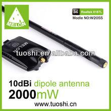 High gain wifi usb network adapter,54mbps,Realtek 8187L chipset,2000mW,10dbi