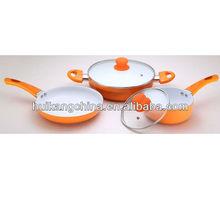 5pcs orange ceramic cookware set with lid-painting handle