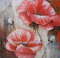 fatto a mano chiaro fiore rosso dipinto ad olio su tela per la decorazione domestica