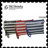 Stripe Wristlet Canvas Clutches Purse Documents Bag Women