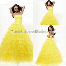 Innovative Design Empire Prom Dress Crystal Ruffles Organza Ball Gown JPD041