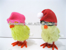 Funny Wind up plush yellow chicken toys with sleep cap