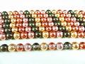 concha de perla y la perla de vidrio hecho a medida y venta al por mayor 4mm color mezclado de concha de perla de vidrio o de la ronda de perlas perlas sueltas strands