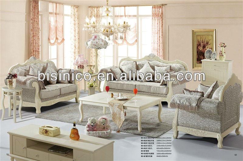 Cor e du style salon canap en tissu blanc pur for Salon anglais en tissu