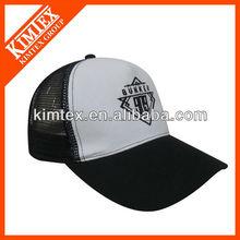 black cap white front panel embroidery cotton mesh cap