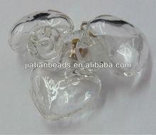 Lampwork crystal heart Murano pendant Clear hand blown Glass Bottle