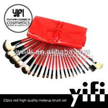 Wholesaler!red roll case 22pcs makeup brush setnatural hair professional makeup brush set