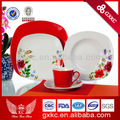 2013 chegada nova cor do esmalte de porcelana dura vermelha praça forma única pratos de jantar com decalque de flores set( shq13- 070)