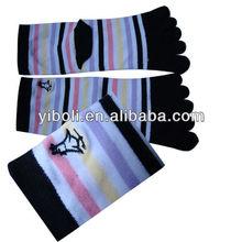 Factory delivery Chicken embroidery five toe trend socks stripe cotton unisex school fashion socks warm socks