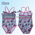 Flower printing one piece swimsuit for kids