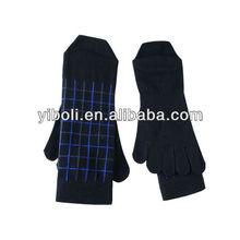 Custom Black men gridding cotton toe socks quality middle tube business trend toe socks