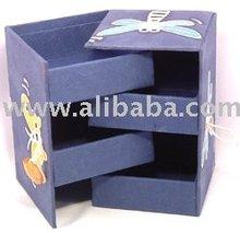 Handmade Flip Open Lid Multi Tier SAA Paper Jewelry Box