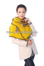Winter pashmina,Long shawl fur edge covering,solid knitted pashmina