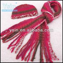 novelty ladies hand crochet scarf hat&gloves sets