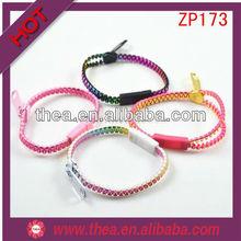 ZP173 fluorescence color hottest sale wrist band zipper bracelet china wholesale