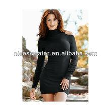 Women's black cut out sexy sweater dress