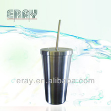 the best seller in 2014,16OZ Double wall 201/304 stainless steel tumbler with straw