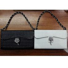 leather flip wallet case luxury rhinestone diamond flower handbag case for samsung galaxy s4