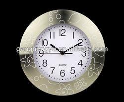 High upscale aluminum metal wall clock ,large round metal wall clock