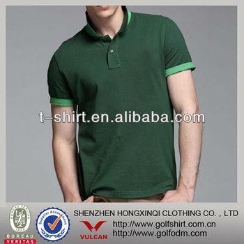 slim fit high quality pique cotton polo shirt green men