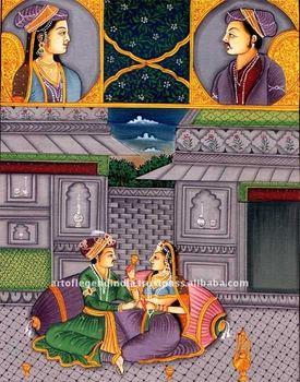 Mughal Emperor Shajahan and Begum Mumtaj Mahal Painting