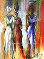 hecho a mano africanos abstracto pintura al óleo para el hogar