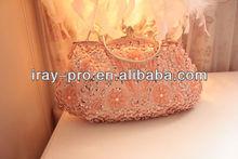 2013 ladies handbag with flower pattern and bead, sequin design