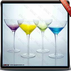handblown colored martini cocktail glass