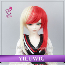 New Design Top Quality BJD wig for Dolls Red & white long Head Hair BJD Wig