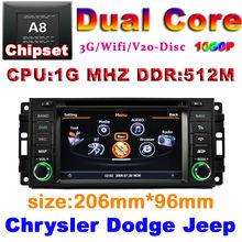 Car DVD for Jeep Wrangler Commander Compass Grand Cherokee Dodge Journey Chrysler Sebring with 1G CPU 3G Host S100