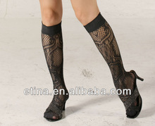 Sexy lady fishnet knee high socks jacquard patterned