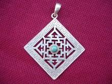 Silver Pendants wholesale- Turquoise Mandala Pendant Tibetan Nepal