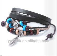 Multi circles national bracelet blue wood beads wing charmed knotted rosary bracelet real leather flower bracelet for girls
