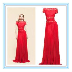 Fashion Short Sleeve Red Chiffon Evening Dresses From Dubai(EVFA-1136)