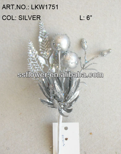 "2014 Hot Sale Artificial Christmas Flower Pick 6"" Artificial Polyfoam Silver Fruit With Berries and Pineneedle Pick"