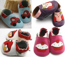 2014 de cuero genuino zapatos de bebé, suela suave bebé zapatos de cuero, el patrón de leopardo recién nacido zapatos de bebé