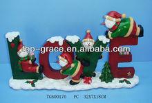 resin lighted christmas decorative handicraft in Love design