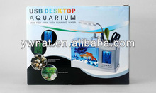Hot Sale Fashionable table aquarium fish tank, multifunction calendar with thermometer decorative home or office