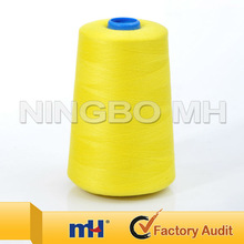 Polyester sewing thread for sewing machines