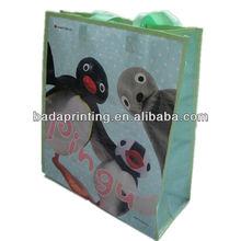 """penuins"" Ping Gu lovery reusable pp woven shopping bags/For shopping"