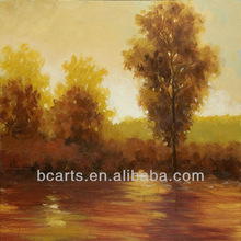 High quality handmade impressionist palette knife oil painting of trees on river bank, forest landscape paintings