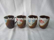9oz ceramic stoneware handpainted and embossed zebra mug/porcelain mug