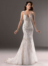 Sexy Halter Deep V Neck Whole Crystals Beaded Sheath Chapel Trains 2014 New Arrivals Latest Wedding Dress Bridal Gown Customized