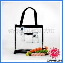 Clear Medium PVC Tote Bag Black Pink with zipper