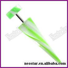 UV Green and White Swirl Fake Ear Taper Earring