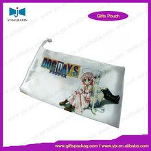 Custom logo printed polyester satin pouch