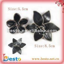 black leather chain edge fashion handmade flower brooch